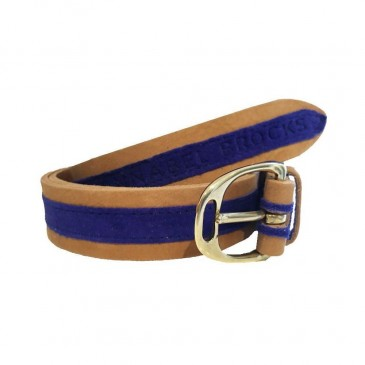 Annabel Brocks Leather Contrast Belt Cobalt Suede