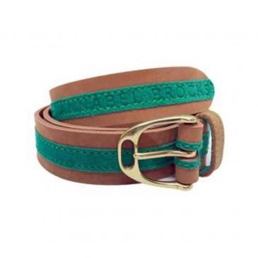 Annabel Brocks Leather Contrast Belt Green Suede