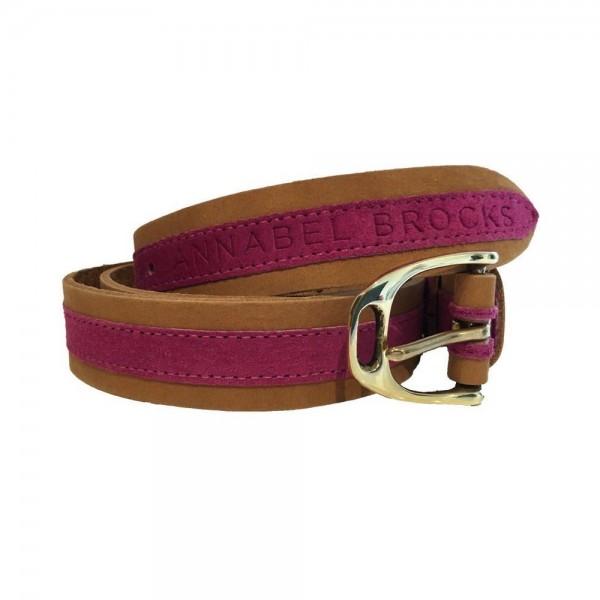 Annabel Brocks Leather Contrast Belt Pink Suede