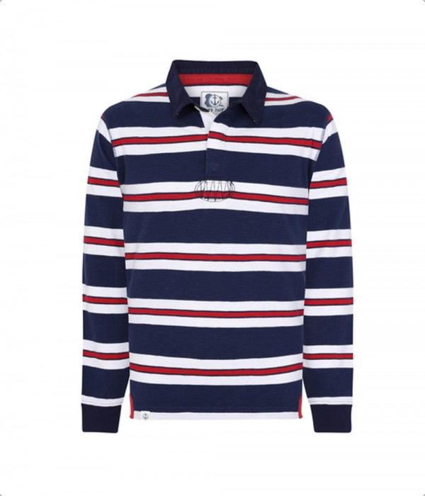 Lazy Jacks Long Sleeve Rugby Top Navy/White/Red