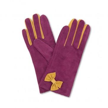 Suede Glove Gertrude Magenta