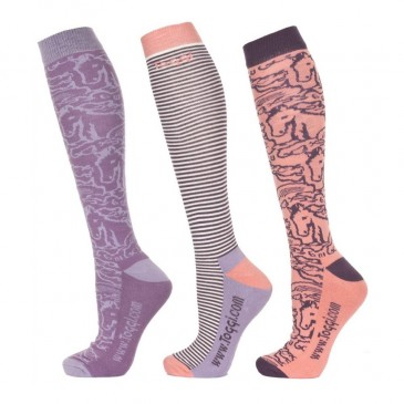 Toggi Malyka Ladies Socks Retro Horse Design Heather (pack of 3)