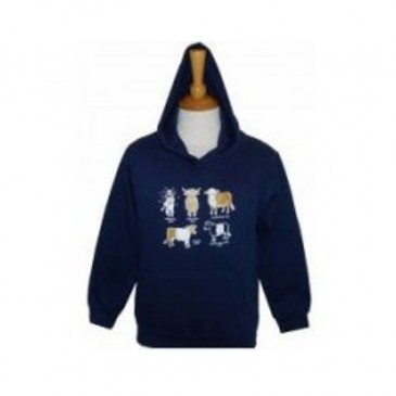 All Kinds of Cows Hooded Child Sweatshirt Navy