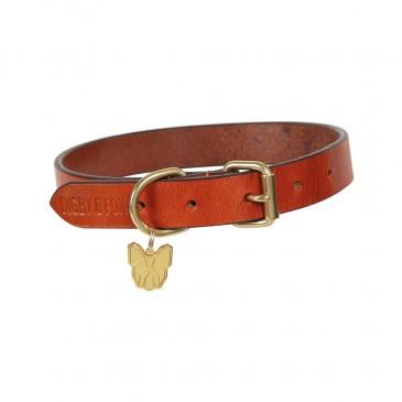 Digby & Fox Flat Leather Dog Collar Med Tan
