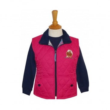 Fat Ponies Child Quilted Gilet Fuchsia