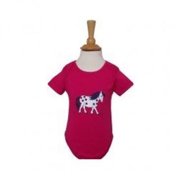 Little Flower Pony Baby Vest Fuchsia