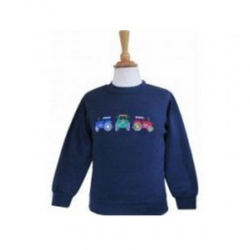 Three Tractors Child Sweatshirt Navy