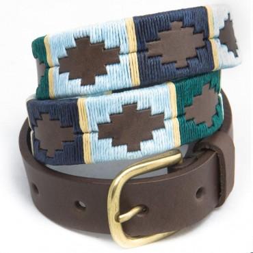 Pioneros Narrow Belt Green/Pale Blue/Navy/Cream Stripe