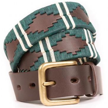 Pioneros Narrow Belt Green Double Stripe